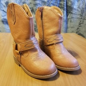 Piper Brown Stitched Cowboy Zipper Boots Size 6